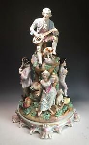 Large Antique Porcelain European French Or German Signed Grouping Figurine