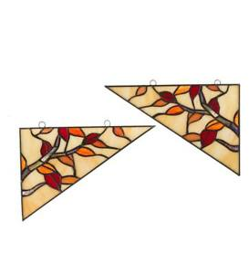Stained Glass Branch With Leaves Corner Accents Set Of 2 Each 10 W X 7 5 H