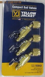 Yellow Jacket 93842 Compact Ball Valve 1 4 45 3 pack