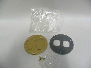 Unused Hubbell 232a Brass Duplex Outlet Round Circle Receptacle Box Cover A7