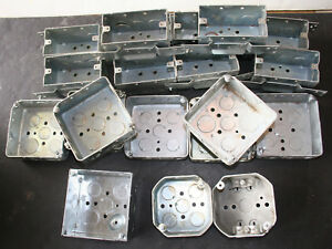 Lot Of 20 Rectangle Square Raco Metal Electrical Boxes