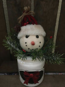 Primitive Snowman In Jar Winter Christmas Decor