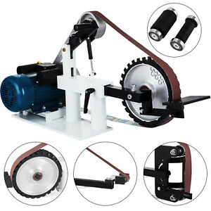 2 X 82 Knife Belt Grinder With 2 Hp Motor Base Tool Rest And Attachments