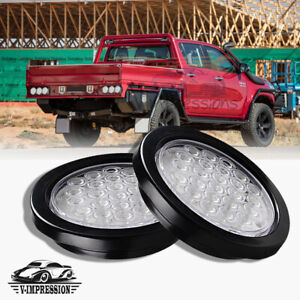 2x Tail Light White 24 Led 4 Inch Round Reverse Back Up For Car Trailer Truck Rv