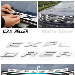 Matte Silver Explorer Emblem Badge Front Hood Logo Sticker For 2011 2018 Ford