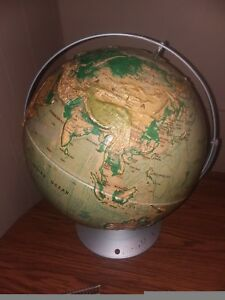 Vintage Nystrom Sculptural Relief World Globe 16 School Edition Map 39 47