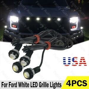 4pcs Led White Grille Lighting Kit Universal Fit Truck Suv Ford Svt Raptor Style