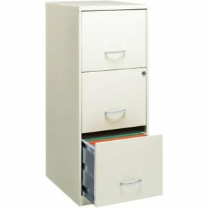 Space Solutions 3 Drawer Vertical Metal File Cabinet With Lock Pearl White