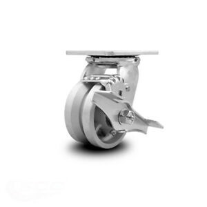 Scc 4 X 2 V Groove Semi Steel Wheel Swivel Caster W brake 800lbs caster