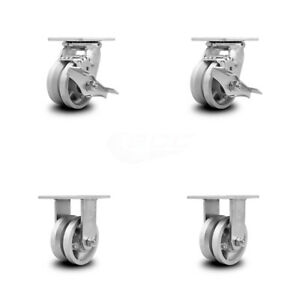 Scc 4 X 2 V Groove Semi Steel Wheels Caster Set 4 2 Swivel W brakes 2 Rigid