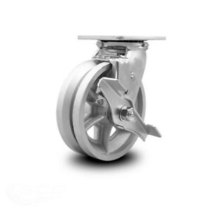 Scc 6 X 2 V Groove Semi Steel Wheel Swivel Caster W brake 1 200lbs caster