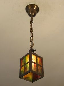 Restored Early C 1890 Antique Slag Glass Light Fixture Great Colors