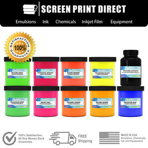 Ecotex Water Based Fluorescent Discharge Ink Screen Printing Ink Kit 8 Color
