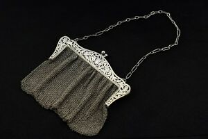 Antique Sterling Silver Shubael Cottle New York Ny 1877 Mesh Purse