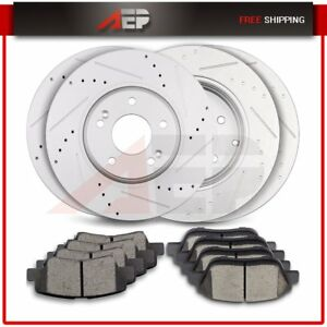 Front Rear Drilled Slotted Brake Rotors Ceramic Pads For Hyundai Sonata Optima