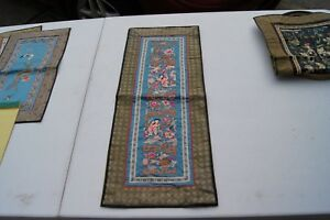 Vintage Silk Handmade Chinese Embroidery Panel Maidens And Flowers 25 X 10