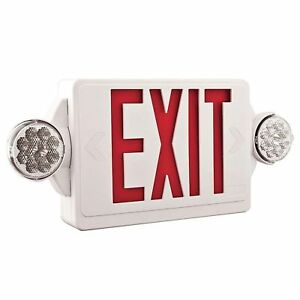 Lithonia Lighting 2 light Plastic Led White red Exit Sign emergency Combo 2389