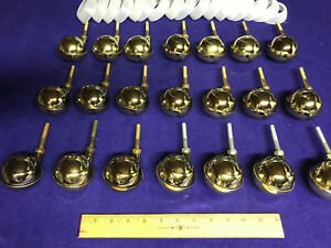 21 New Vintage Bassick Swivel Ball Casters Brass Finish Never Used nos