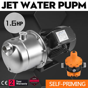 1 6hp Jet Water Pump W pressure Switch Self priming 1 2kw 3420rpm Stainless