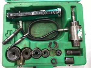 Greenlee 7306 Hydraulic Knockout Punch Driver Set Missing One Punch he1013070