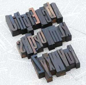A z Mixed Alphabet 1 77 Letterpress Wooden Printing Blocks Wood Type Printer