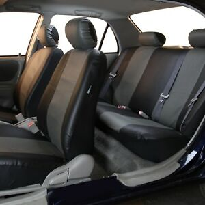 Pu Leather Seat Covers For Auto Car Suv Van Full Seat Covers Set Gray Black