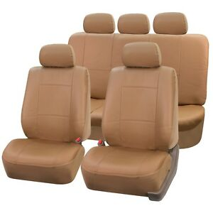 Pu Leather Seat Covers For Car Suv Van Full Universal Seat Covers Set Tan