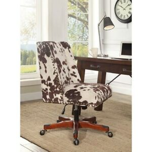 Linon Draper Armless Upholstered Office Chair In Udder Madness Milk