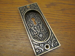Brass Bronze Eastlake Pocket Door Plate Escutcheon Ornate Detail