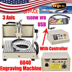 1500w 3 Axis 6040 Usb Cnc Router Engraver Metal Milling Machine Controller Us