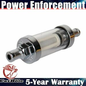 Universal Clearview Inline Fuel Filter 3 8 Chrome Hose Barb 5 Years Warranty