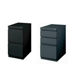 2 Piece Value Pack Mobile Filing Cabinet In Black And Charcoal