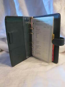 Retro 1990 s Franklin Quest Leather 1 2 Ring Pocket Binder Organizer Tabs Ruler