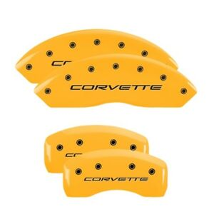Mgp Caliper Covers Engraved Front Rear For 1997 04 Chevrolet Corvette Yellow