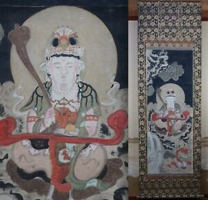 Japan Buddhist Temple Scroll 1890s Antique Japanese Altar Sansonbutsu Art