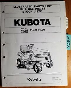 Kubota T1460 T1560 Lawn Tractor Illustrated Parts List Manual 97898 41080 11 94