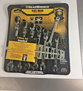 Gearwrench 7 Pc Standard Ratcheting Flex Head Combination Wrench Set 44005 New