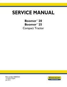 New Holland Boomer 20 25 Compact Tractor Complete Service Manual