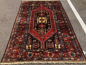 4x6 Antique Caucasian Rug Hand Knotted Persian Wool Foundation Iran Red Rugs 3x5