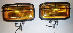 Pair Of Amber Lense Driving Fog Lights Lamps Yellow