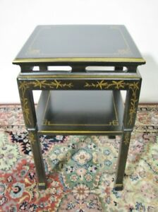 Vintage Drexel Heritage Asian Inspired Two Tier Black Lacquer Occasional Table