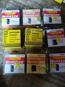 Homeline Square D Breakers Lot 20a 40a 15a 50a