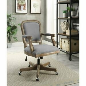 Linon Maybell Wood Upholstered Office Chair Light Gray