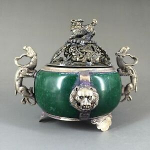 Delicate Chinese Decorated Old Jade Tibet Silver Incense Burner St391