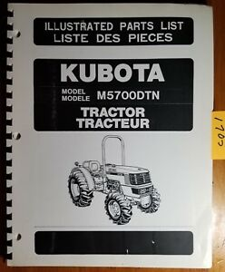 Kubota M5700dtn Tractor Illustrated Parts List Manual 9789822300