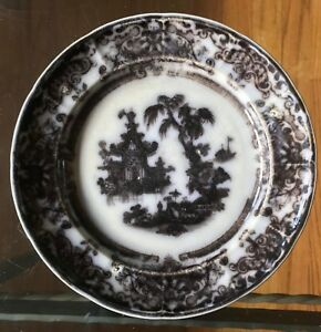 Antique Pw Co Corean Pattern Flow Black Transferware Plate 7 7 8 Diameter