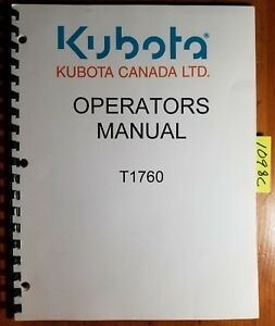 Kubota T1760 Lawn Tractor Owner s Operator s Manual K1142 7121 2