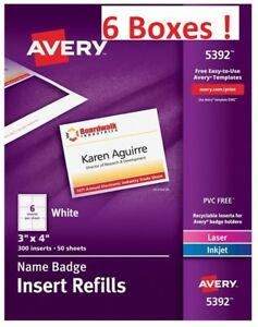 Avery Name Badge Insert Refills 5392 6 Boxes 1 800 Inserts Free Shipping