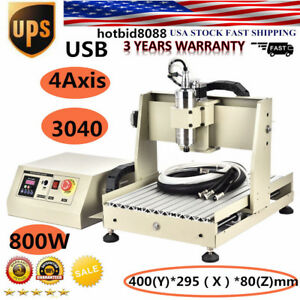 Usb 3040 Cnc Router 4 Axis Engraver Engraving Machine 800w Spindle Ballscrew Hot
