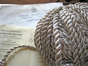 1 Yd Vintage Antique French Silver Metallic Rope Cord Trim 3 8 Lampshade Pillow